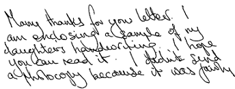 Handwriting sample showing confusion of interests in the writer.